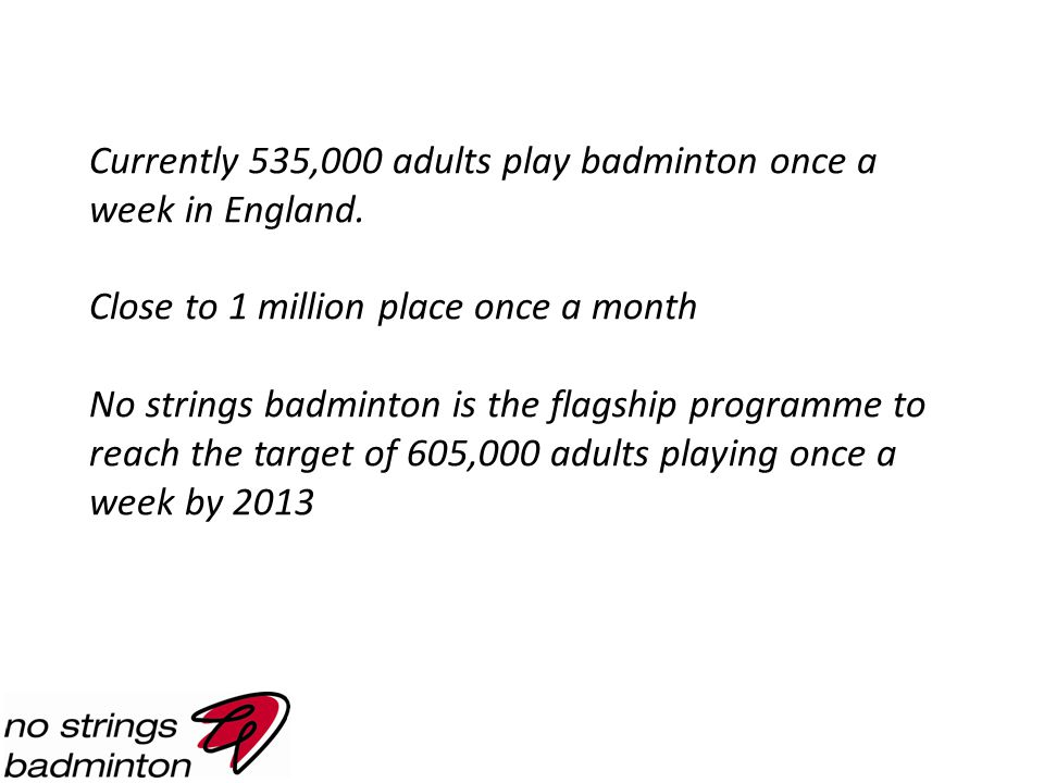 Currently 535,000 adults play badminton once a week in England.