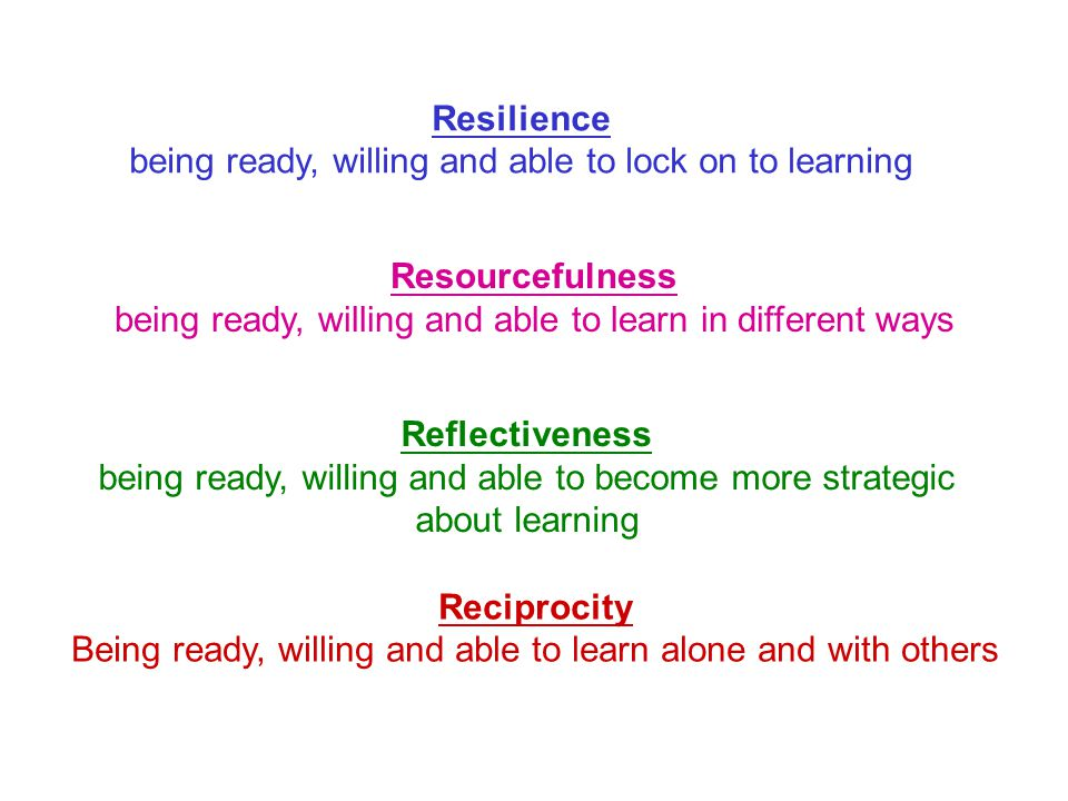 Resilience being ready, willing and able to lock on to learning Resourcefulness being ready, willing and able to learn in different ways Reflectiveness being ready, willing and able to become more strategic about learning Reciprocity Being ready, willing and able to learn alone and with others