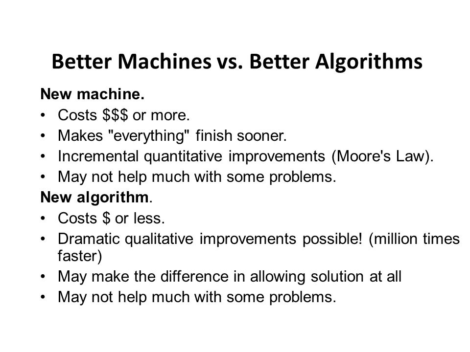 Better Machines vs. Better Algorithms New machine.