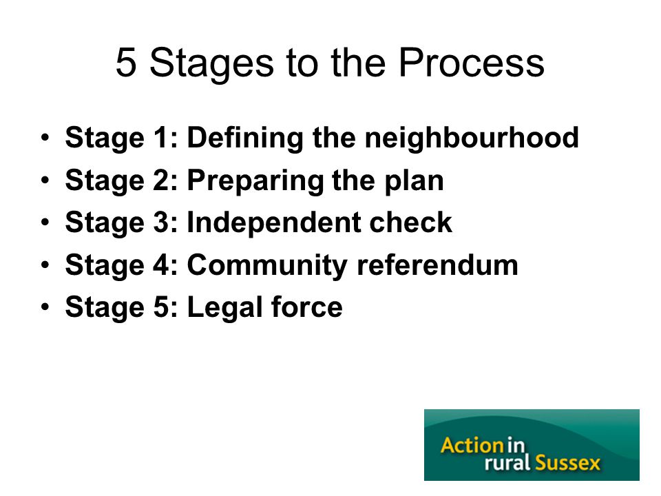 5 Stages to the Process Stage 1: Defining the neighbourhood Stage 2: Preparing the plan Stage 3: Independent check Stage 4: Community referendum Stage 5: Legal force