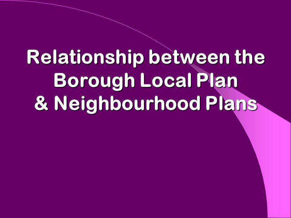 Relationship between the Borough Local Plan & Neighbourhood Plans