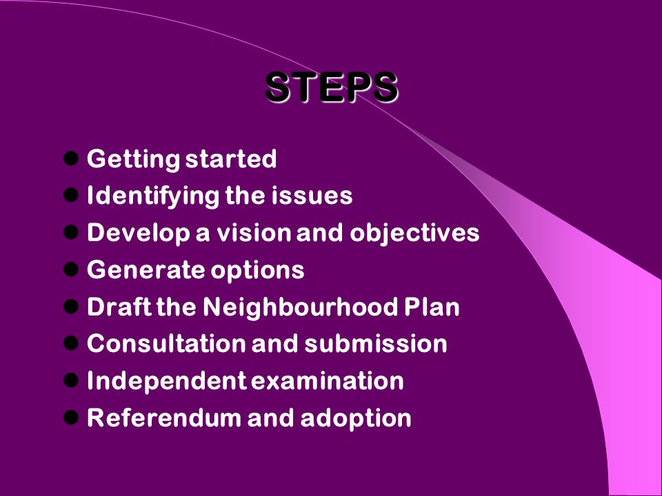 STEPS Getting started Identifying the issues Develop a vision and objectives Generate options Draft the Neighbourhood Plan Consultation and submission