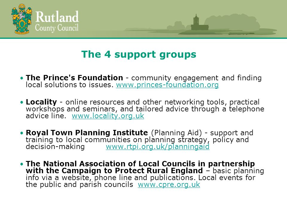 The 4 support groups The Prince s Foundation - community engagement and finding local solutions to issues.