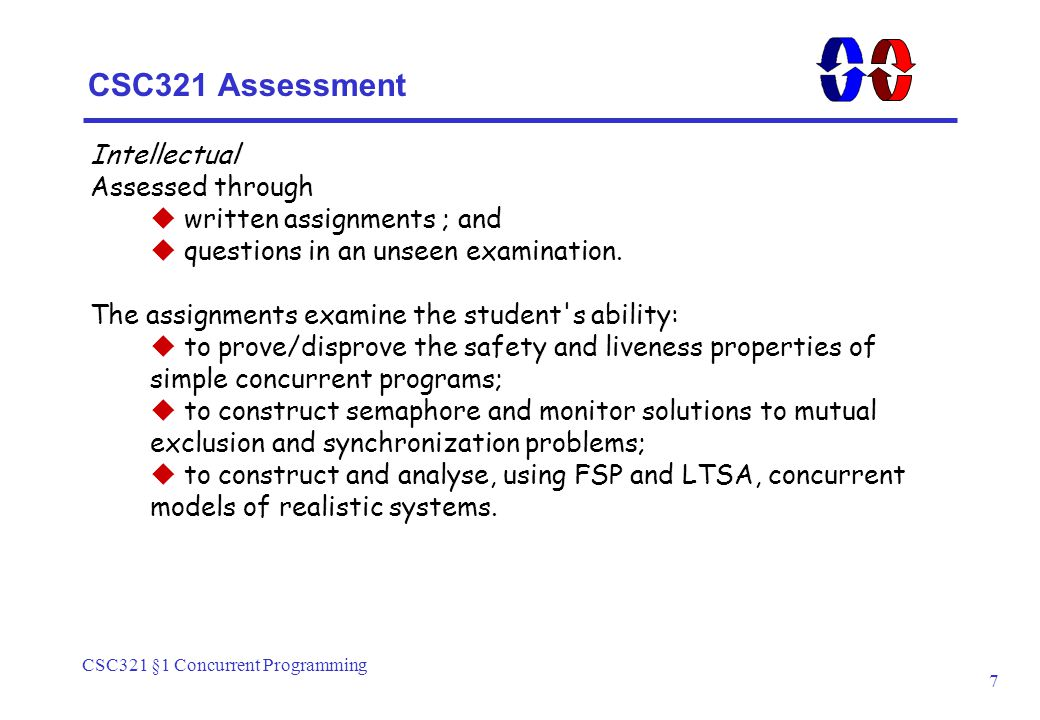 CSC321 §1 Concurrent Programming 7 CSC321 Assessment Intellectual Assessed through  written assignments ; and  questions in an unseen examination.