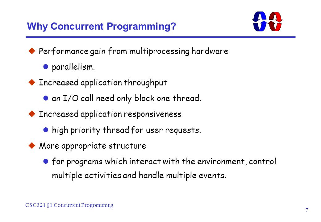 CSC321 §1 Concurrent Programming 7 Why Concurrent Programming.