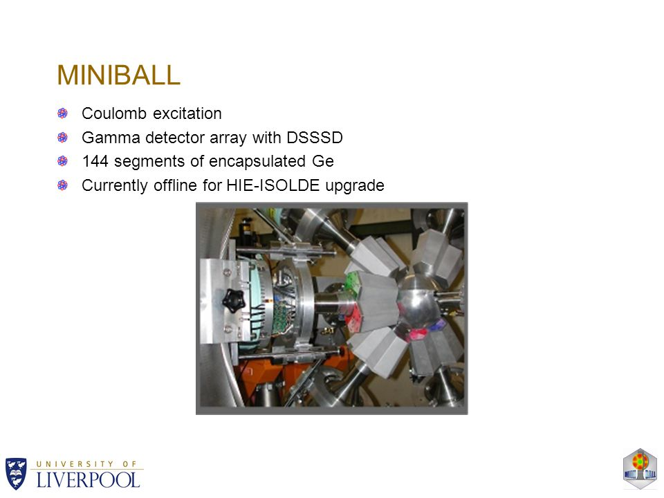 MINIBALL Coulomb excitation Gamma detector array with DSSSD 144 segments of encapsulated Ge Currently offline for HIE-ISOLDE upgrade