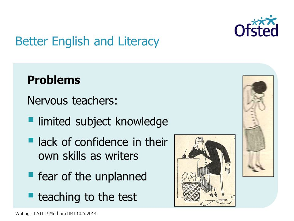 Better English and Literacy Problems Nervous teachers:  limited subject knowledge  lack of confidence in their own skills as writers  fear of the unplanned  teaching to the test Writing - LATE P Metham HMI 10.5.2014