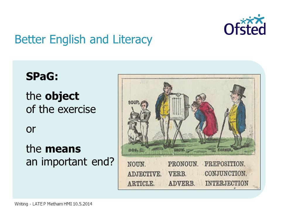 Better English and Literacy SPaG: the object of the exercise or the means to an important end? Writing - LATE P Metham HMI 10.5.2014