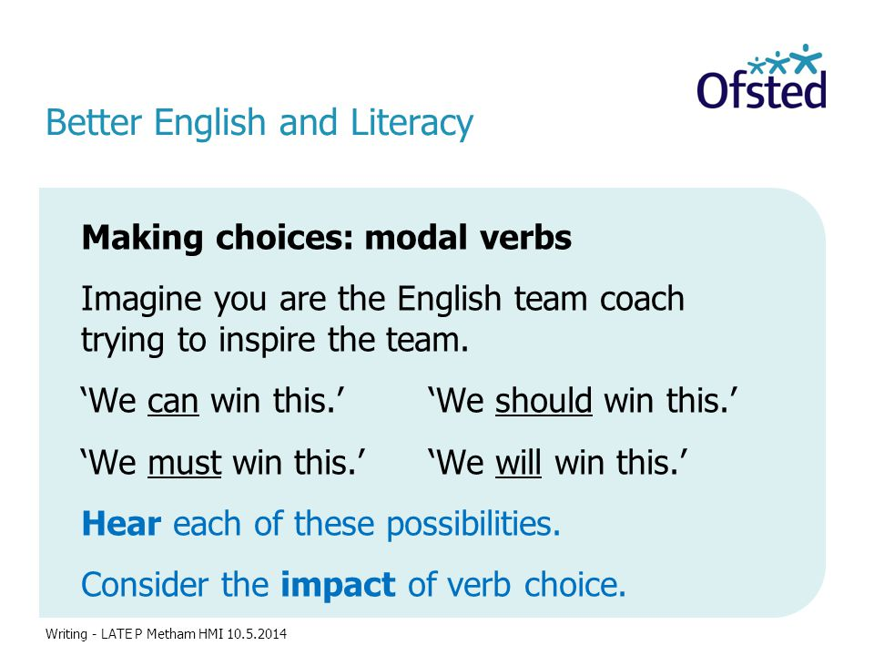 Better English and Literacy Making choices: modal verbs Imagine you are the English team coach trying to inspire the team. 'We can win this.' 'We shou