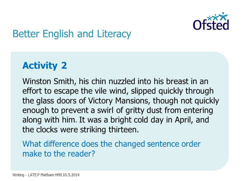 Better English and Literacy Activity 2 Winston Smith, his chin nuzzled into his breast in an effort to escape the vile wind, slipped quickly through t
