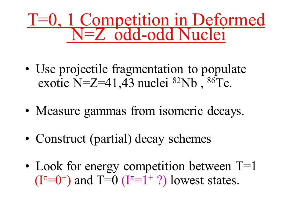 T=0, 1 Competition in Deformed N=Z odd-odd Nuclei Use projectile fragmentation to populate exotic N=Z=41,43 nuclei 82 Nb, 86 Tc.