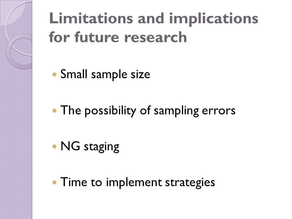 Limitations and implications for future research Small sample size The possibility of sampling errors NG staging Time to implement strategies