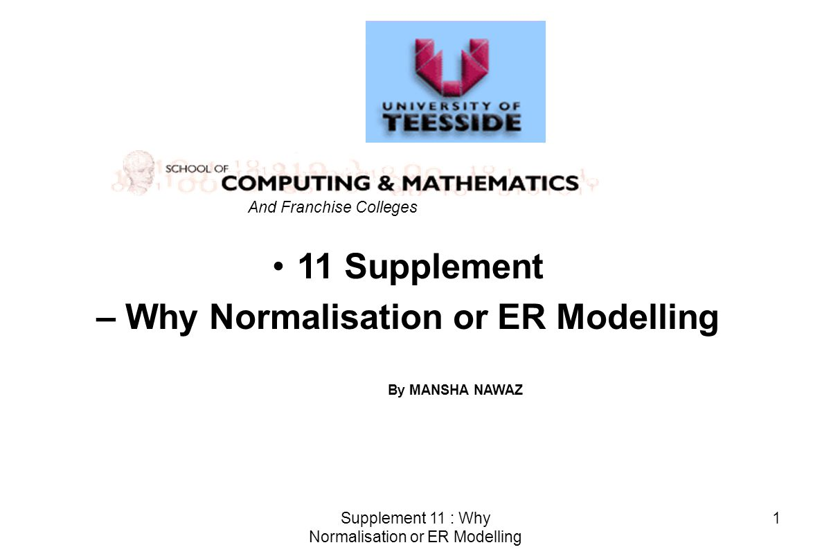 Supplement 11 : Why Normalisation or ER Modelling 1 11 Supplement – Why Normalisation or ER Modelling And Franchise Colleges By MANSHA NAWAZ