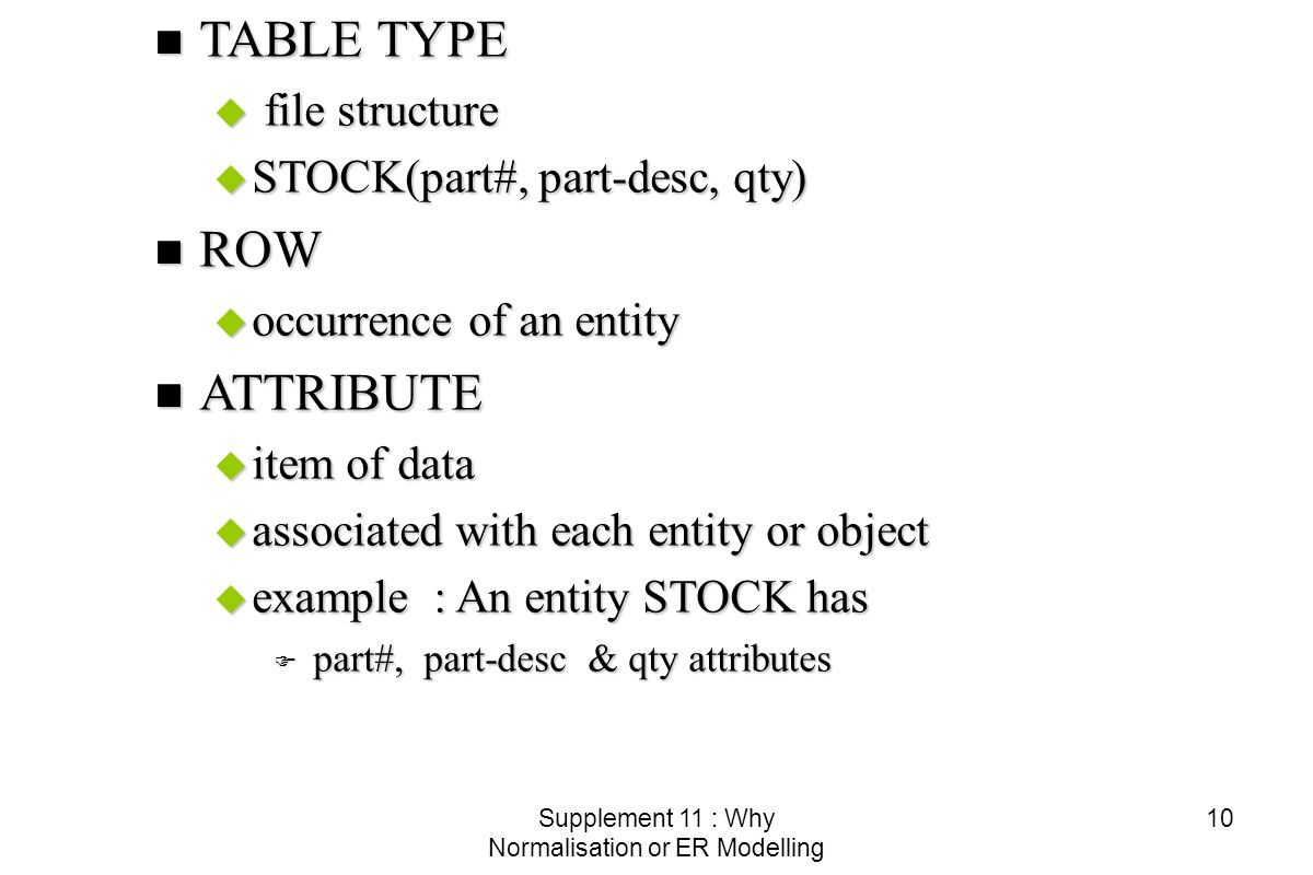 Supplement 11 : Why Normalisation or ER Modelling 10 n TABLE TYPE u file structure u STOCK(part#, part-desc, qty) n ROW u occurrence of an entity n ATTRIBUTE u item of data u associated with each entity or object u example : An entity STOCK has F part#, part-desc & qty attributes