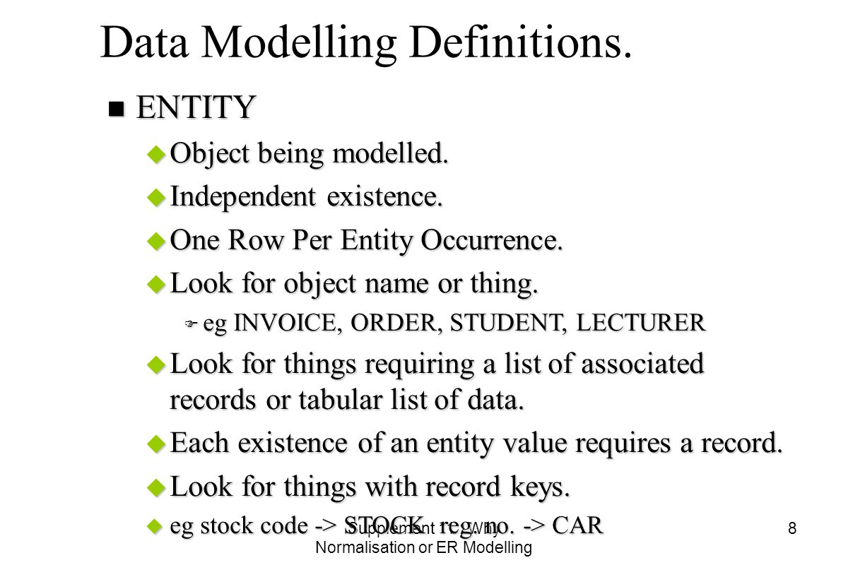 Supplement 11 : Why Normalisation or ER Modelling 8 Data Modelling Definitions.