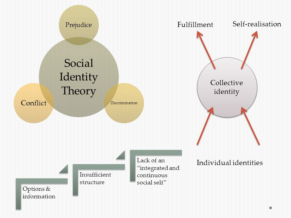 Social Identity Theory Prejudice Discrimination Conflict Options & information Insufficient structure Lack of an integrated and continuous social self Collective identity Fulfillment Self-realisation Individual identities