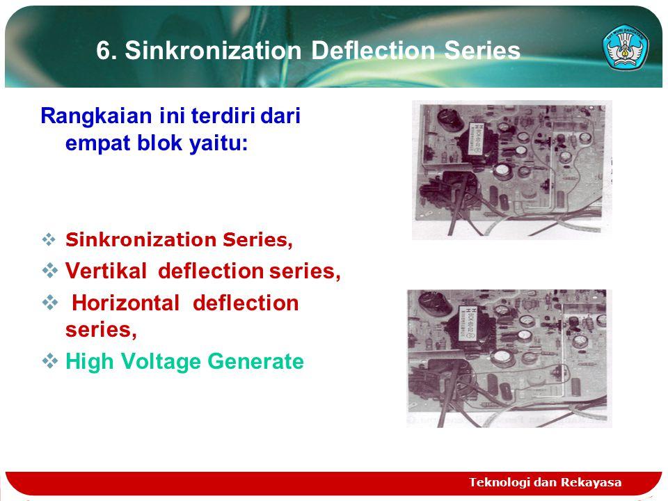 Teknologi dan Rekayasa 6. Sinkronization Deflection Series Rangkaian ini terdiri dari empat blok yaitu:  Sinkronization Series,  Vertikal deflection
