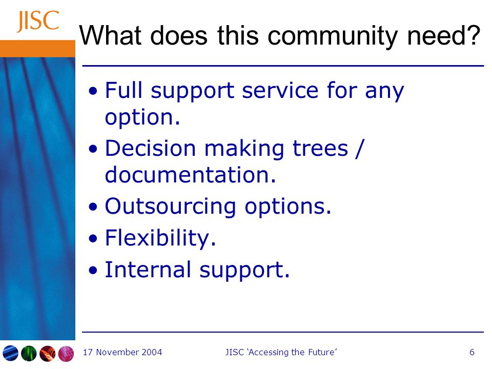 17 November 2004JISC 'Accessing the Future'7 What can JISC offer?