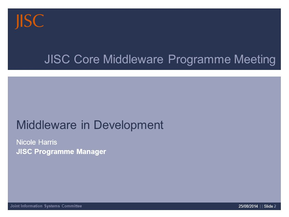 Joint Information Systems Committee 25/08/2014 | slide 3 JISC Structure Committee-led, with a high level board.
