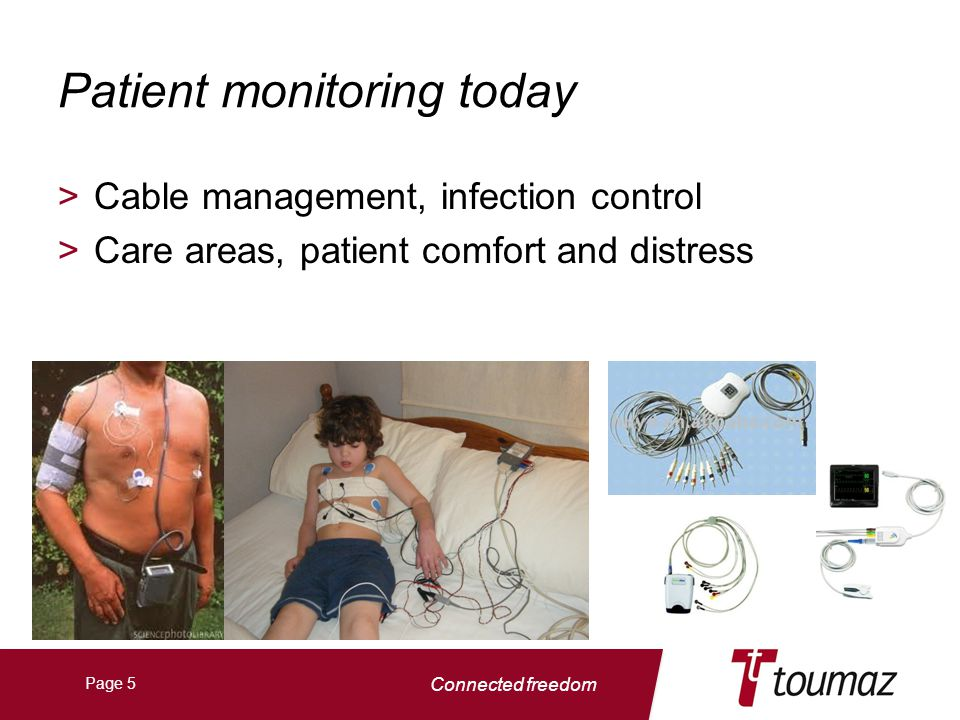 Connected freedom Page 5 Patient monitoring today >Cable management, infection control >Care areas, patient comfort and distress
