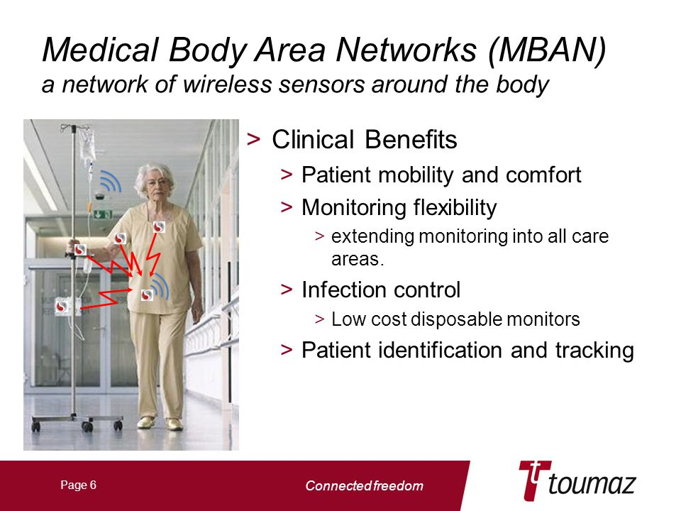 Connected freedom Page 6 Medical Body Area Networks (MBAN) a network of wireless sensors around the body >Clinical Benefits >Patient mobility and comfort >Monitoring flexibility >extending monitoring into all care areas.