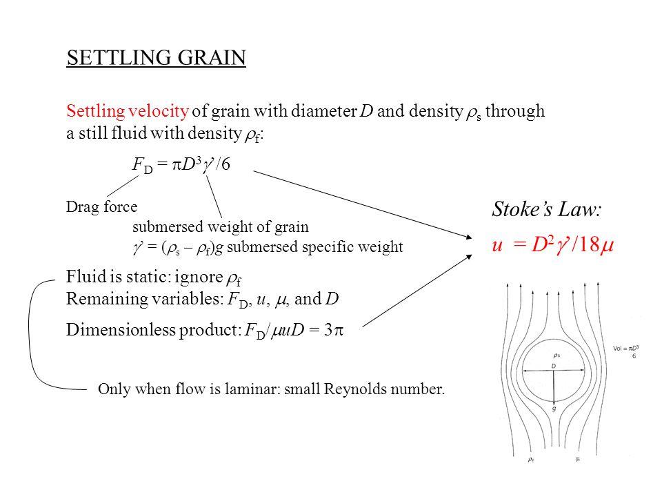 SETTLING GRAIN Settling velocity of grain with diameter D and density  s through a still fluid with density  f : F D =  D 3  '/6 Drag force submer