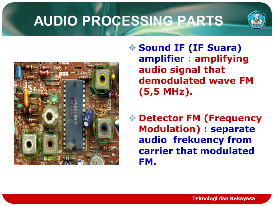 Teknologi dan Rekayasa AUDIO PROCESSING PARTS  Sound IF (IF Suara) amplifier : amplifying audio signal that demodulated wave FM (5,5 MHz).