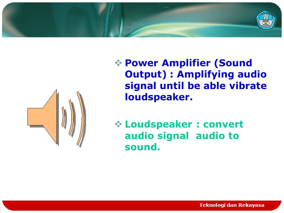 Teknologi dan Rekayasa  Power Amplifier (Sound Output) : Amplifying audio signal until be able vibrate loudspeaker.