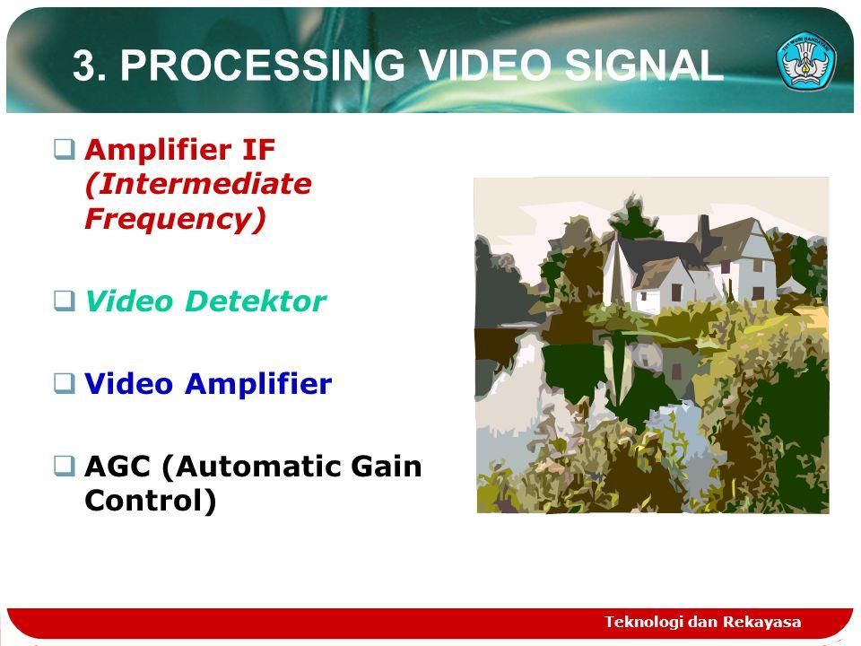 Teknologi dan Rekayasa 3. PROCESSING VIDEO SIGNAL  Amplifier IF (Intermediate Frequency)  Video Detektor  Video Amplifier  AGC (Automatic Gain Con