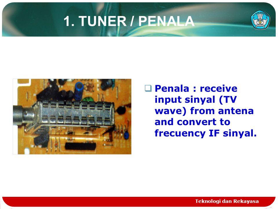 Teknologi dan Rekayasa 1. TUNER / PENALA  Penala : receive input sinyal (TV wave) from antena and convert to frecuency IF sinyal.