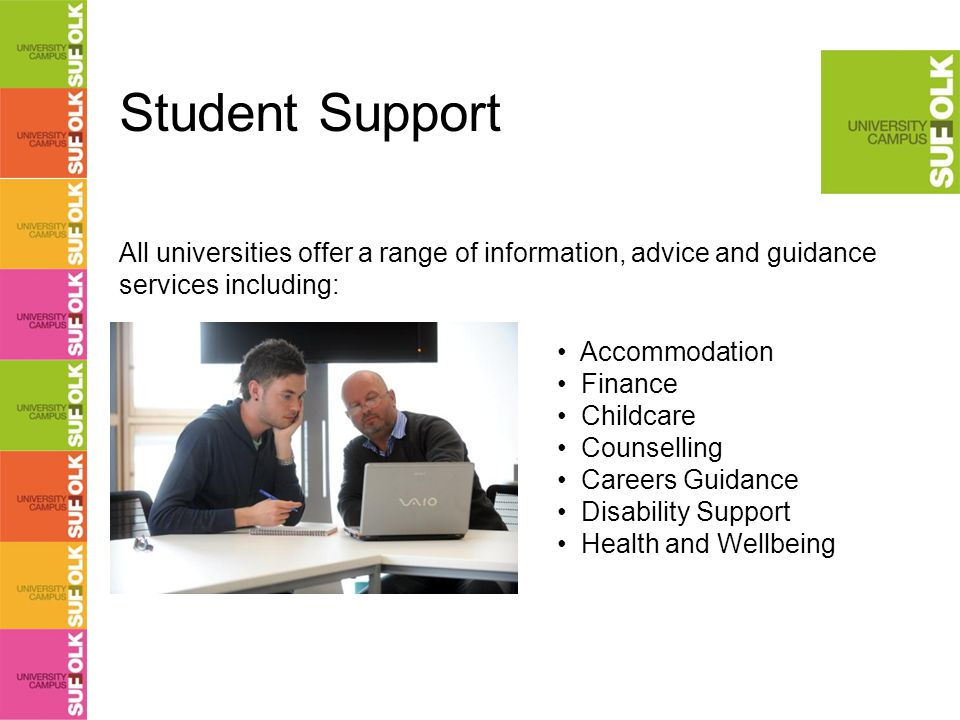 Student Support Accommodation Finance Childcare Counselling Careers Guidance Disability Support Health and Wellbeing All universities offer a range of information, advice and guidance services including: