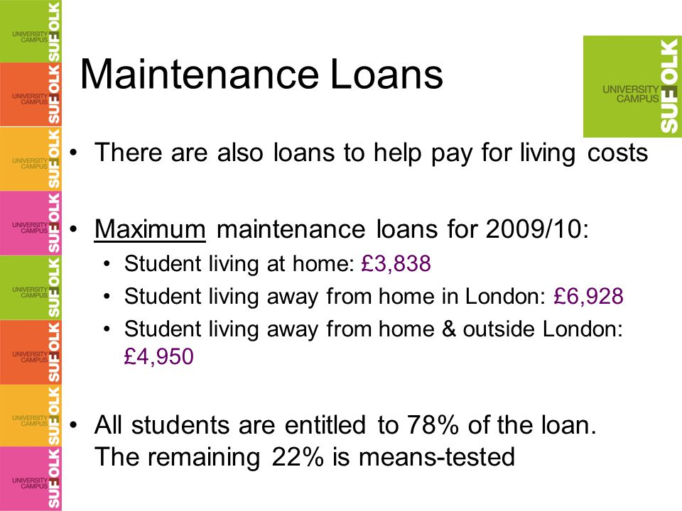 Maintenance Loans There are also loans to help pay for living costs Maximum maintenance loans for 2009/10: Student living at home: £3,838 Student living away from home in London: £6,928 Student living away from home & outside London: £4,950 All students are entitled to 78% of the loan.