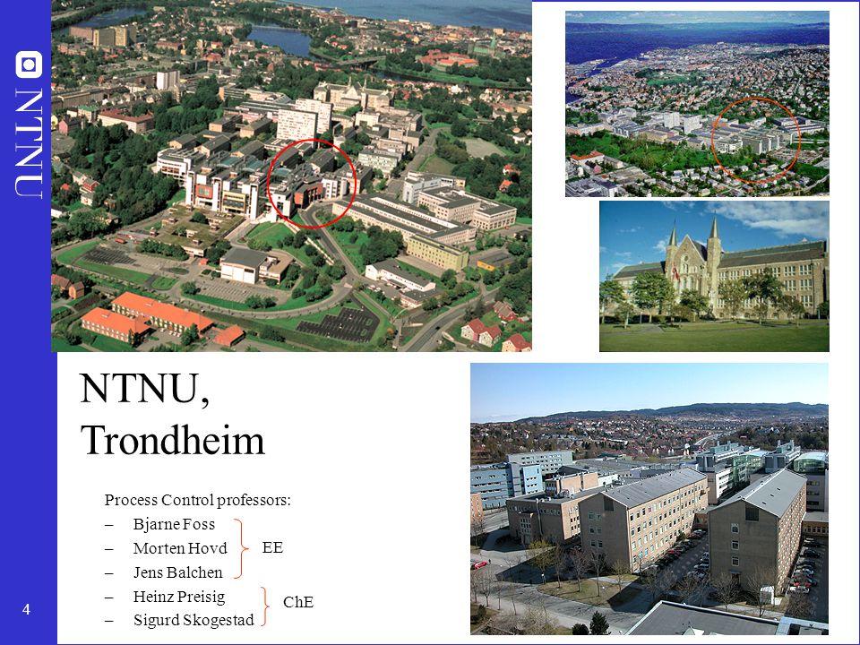 4 NTNU, Trondheim Process Control professors: –Bjarne Foss –Morten Hovd –Jens Balchen –Heinz Preisig –Sigurd Skogestad EE ChE