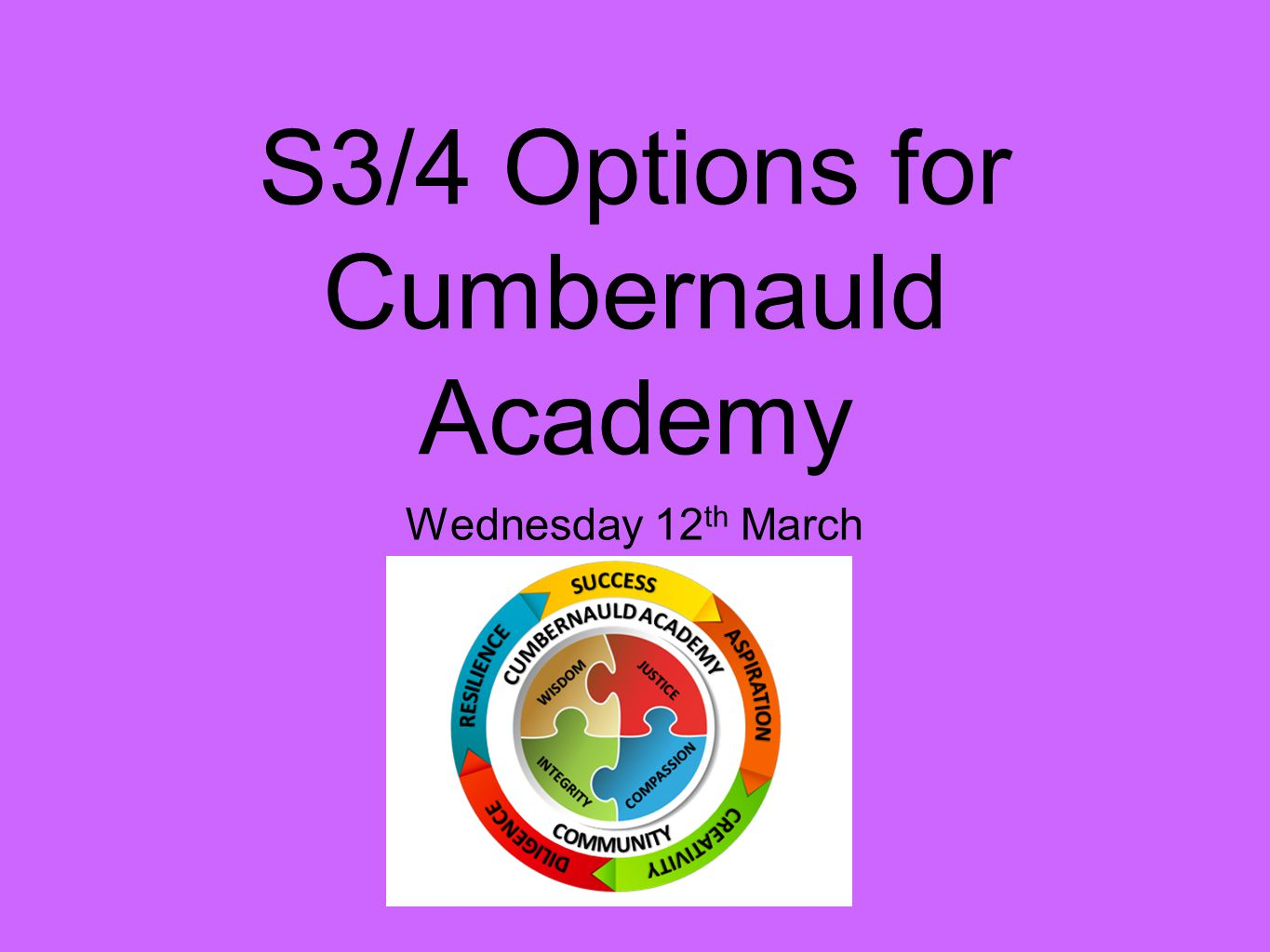 S3/4 Options for Cumbernauld Academy Wednesday 12 th March