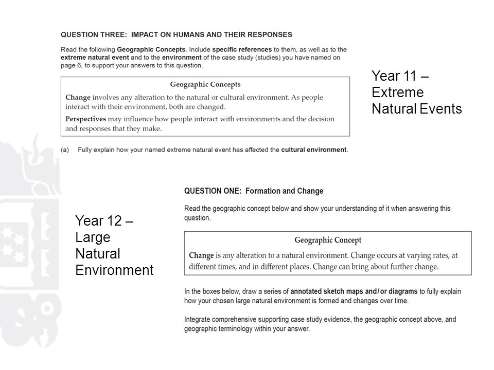 Year 11 – Extreme Natural Events Year 12 – Large Natural Environment