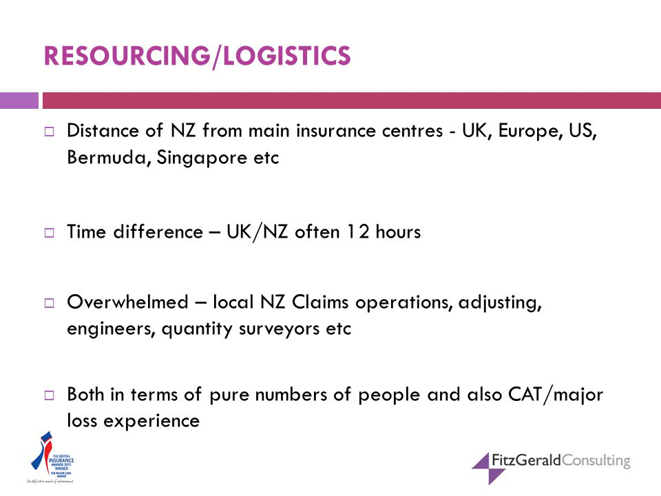 RESOURCING/LOGISTICS  Distance of NZ from main insurance centres - UK, Europe, US, Bermuda, Singapore etc  Time difference – UK/NZ often 12 hours  Overwhelmed – local NZ Claims operations, adjusting, engineers, quantity surveyors etc  Both in terms of pure numbers of people and also CAT/major loss experience