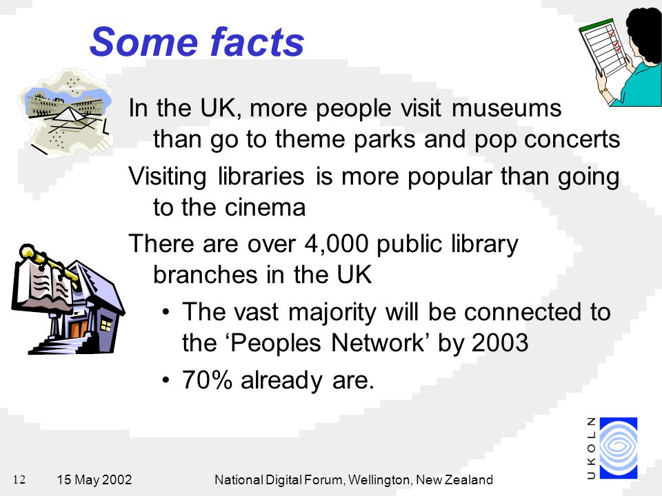 15 May 2002National Digital Forum, Wellington, New Zealand 12 Some facts In the UK, more people visit museums than go to theme parks and pop concerts Visiting libraries is more popular than going to the cinema There are over 4,000 public library branches in the UK The vast majority will be connected to the 'Peoples Network' by % already are.