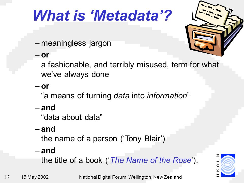 15 May 2002National Digital Forum, Wellington, New Zealand 17 What is 'Metadata'? –meaningless jargon –or a fashionable, and terribly misused, term fo