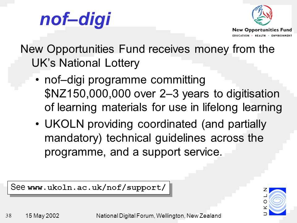 15 May 2002National Digital Forum, Wellington, New Zealand 38 nof–digi New Opportunities Fund receives money from the UK's National Lottery nof–digi p