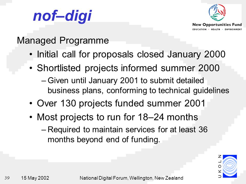 15 May 2002National Digital Forum, Wellington, New Zealand 39 nof–digi Managed Programme Initial call for proposals closed January 2000 Shortlisted pr