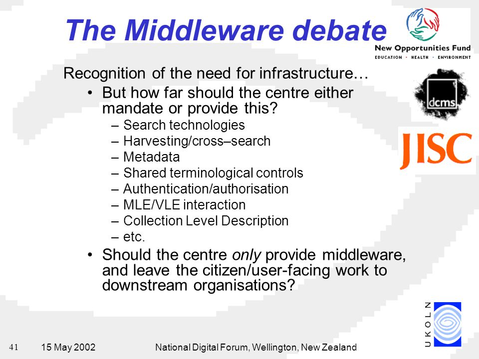15 May 2002National Digital Forum, Wellington, New Zealand 41 The Middleware debate Recognition of the need for infrastructure… But how far should the