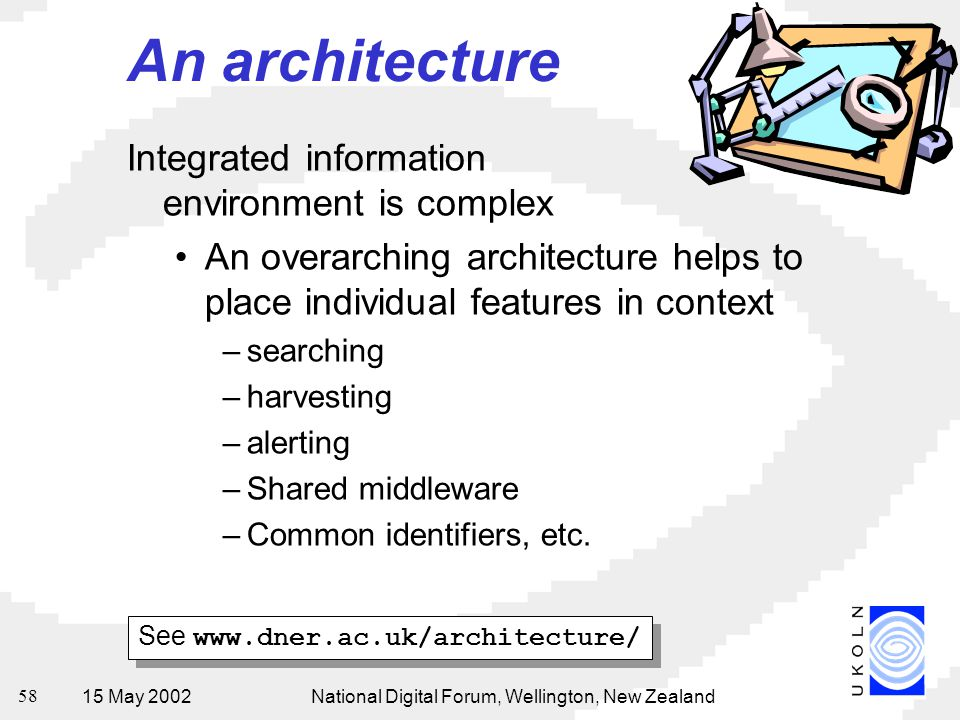 15 May 2002National Digital Forum, Wellington, New Zealand 58 An architecture Integrated information environment is complex An overarching architecture helps to place individual features in context –searching –harvesting –alerting –Shared middleware –Common identifiers, etc.