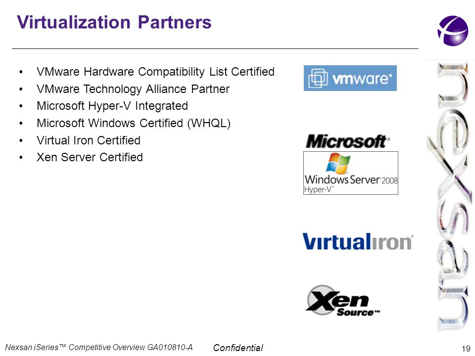 Confidential Virtualization Partners VMware Hardware Compatibility List Certified VMware Technology Alliance Partner Microsoft Hyper-V Integrated Micr