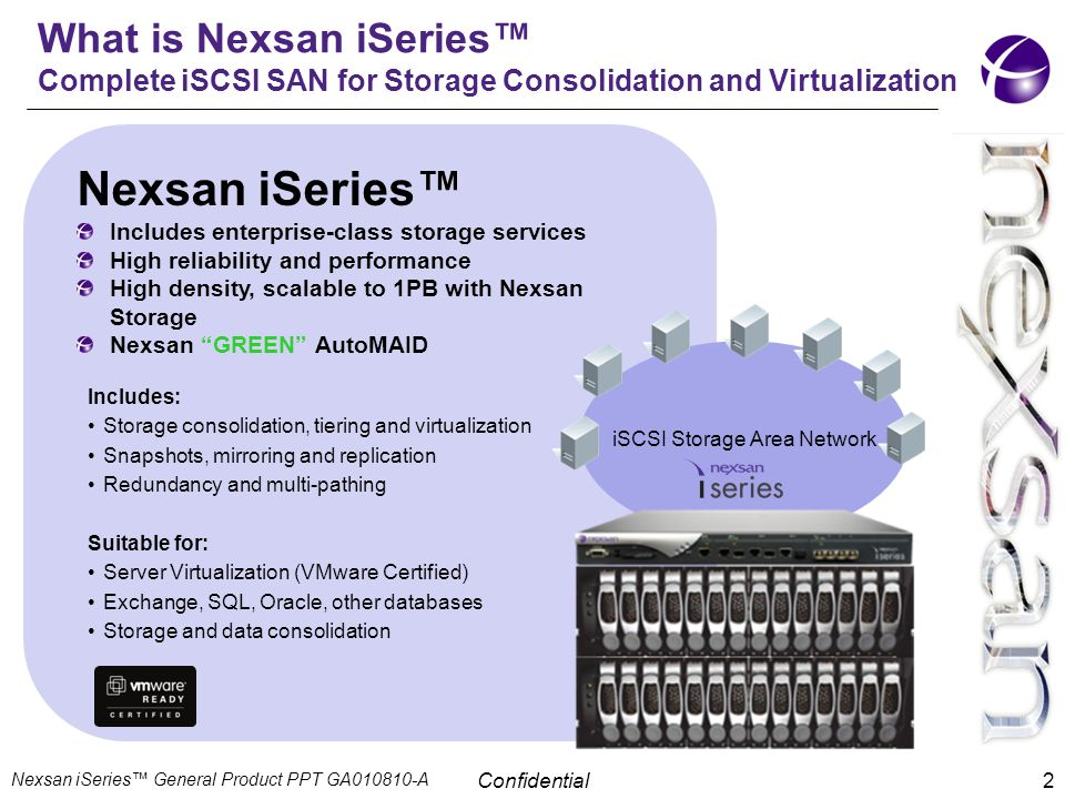 Confidential 2 What is Nexsan iSeries™ Complete iSCSI SAN for Storage Consolidation and Virtualization Nexsan iSeries™ Includes enterprise-class stora