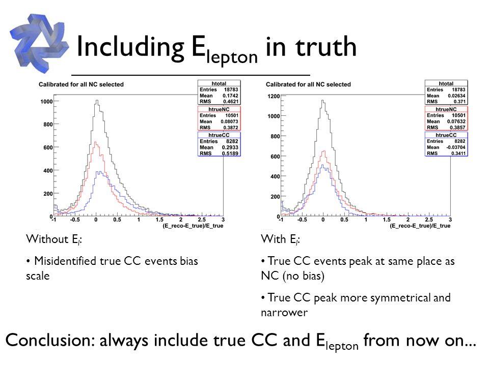Near Best 3 reco/true pairs: RecoTrueCalib RMS deweightCCtrueVisibleE + E l 0.357 deweightCCshowerE + E l 0.361 deweightNCtrueVisibleE+E l 0.369