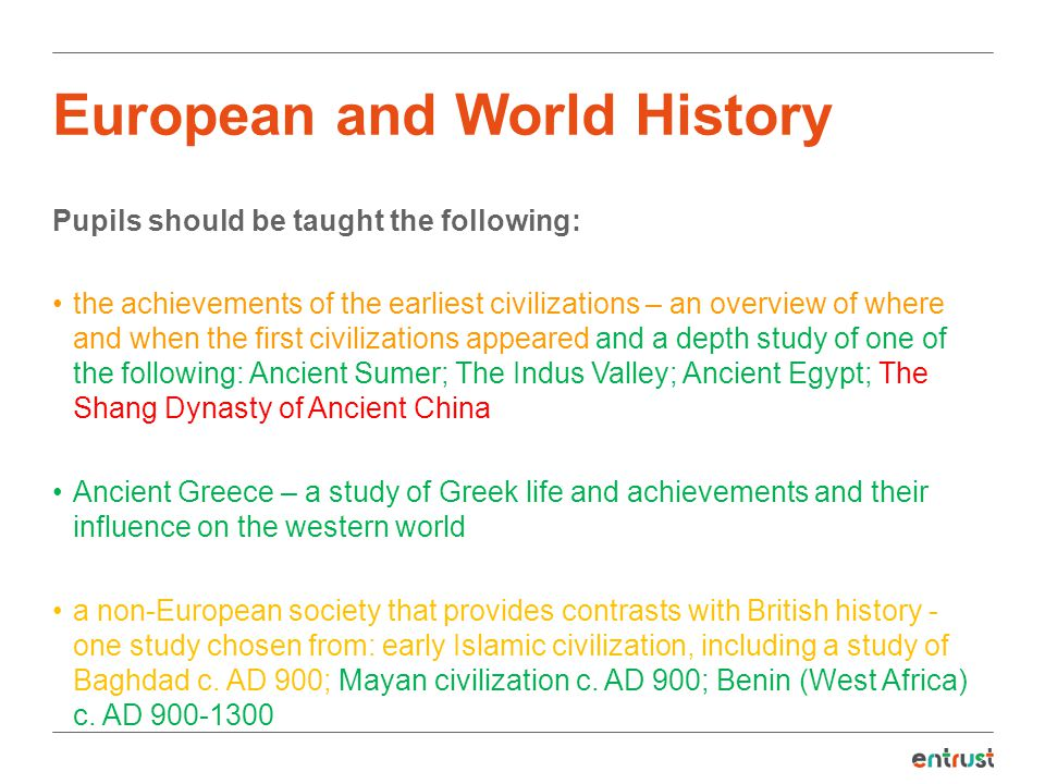 Quick summary of the changes New content The Stone Age to the Iron Age Thematic or turning point study Ancient civilizations and non European study Deleted content The Tudors Victorian Britain or Britain since 1930 The attainment target