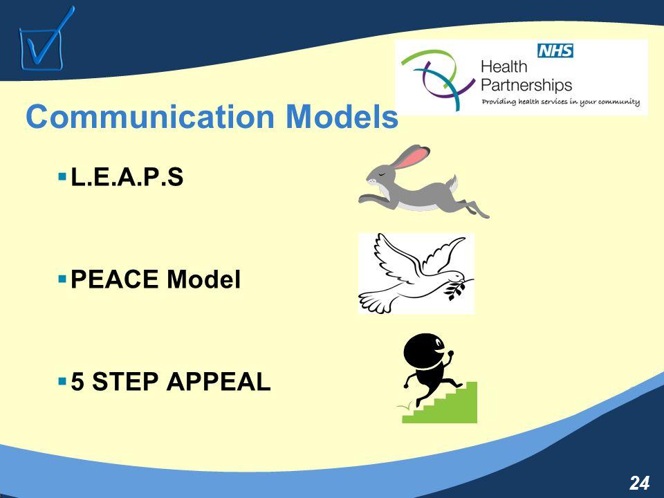 24 Communication Models  L.E.A.P.S  PEACE Model  5 STEP APPEAL
