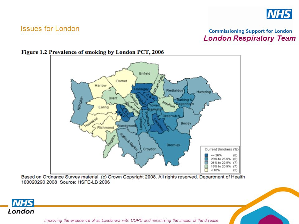 Improving the experience of all Londoners with COPD and minimising the impact of the disease London Respiratory Team Issues for London