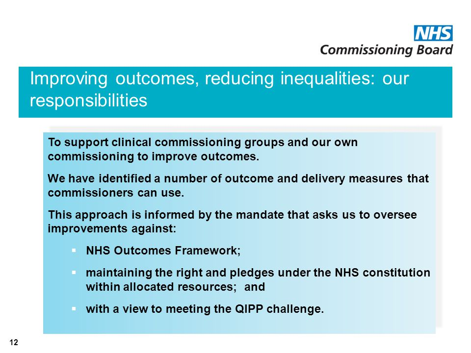 12 Improving outcomes, reducing inequalities: our responsibilities To support clinical commissioning groups and our own commissioning to improve outcomes.