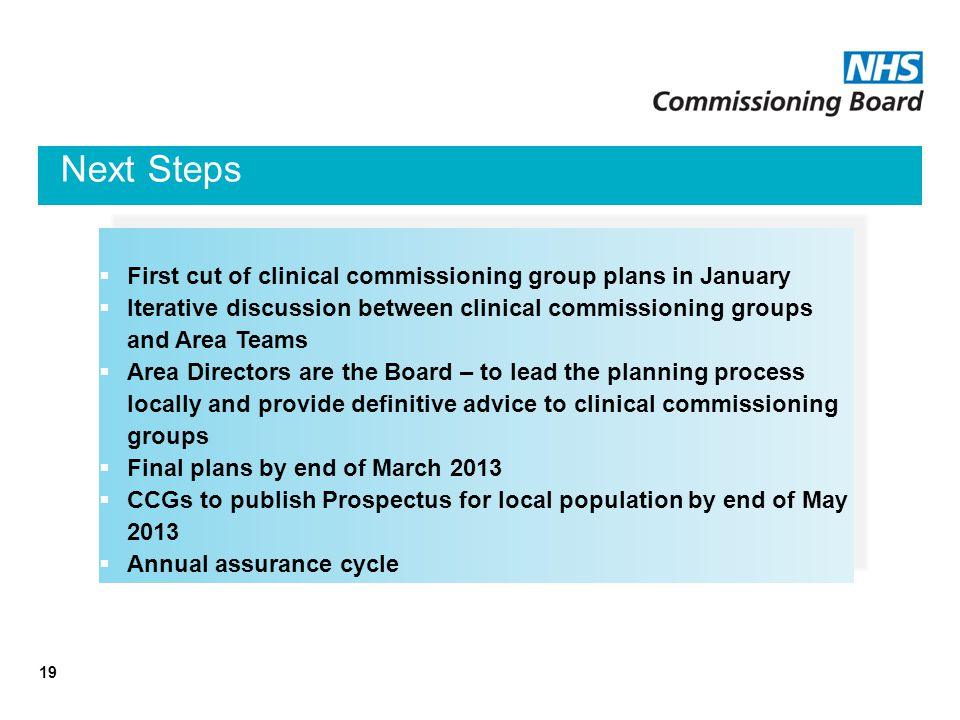 Next Steps 19  First cut of clinical commissioning group plans in January  Iterative discussion between clinical commissioning groups and Area Teams  Area Directors are the Board – to lead the planning process locally and provide definitive advice to clinical commissioning groups  Final plans by end of March 2013  CCGs to publish Prospectus for local population by end of May 2013  Annual assurance cycle  First cut of clinical commissioning group plans in January  Iterative discussion between clinical commissioning groups and Area Teams  Area Directors are the Board – to lead the planning process locally and provide definitive advice to clinical commissioning groups  Final plans by end of March 2013  CCGs to publish Prospectus for local population by end of May 2013  Annual assurance cycle